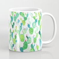 jenna kutcher Mugs featuring Watercolour Cacti by Jenna Mhairi