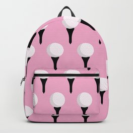 Golf Ball & Tee Pattern (Pink) Backpack