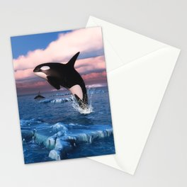 Killer whales in the Arctic Ocean Stationery Cards