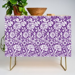 """William Morris Floral Pattern   """"Pink and Rose"""" in Purple and White Credenza"""