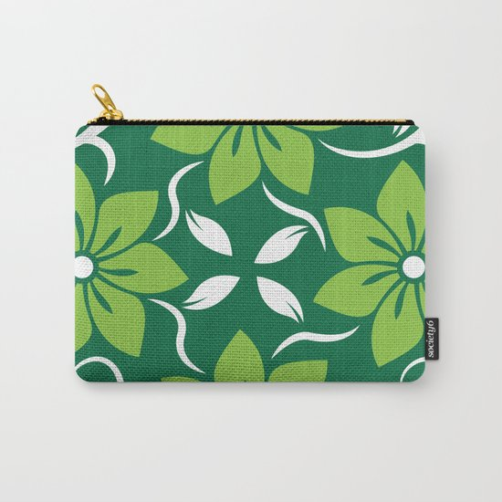 Green Spring Flower Pattern Carry-All Pouch