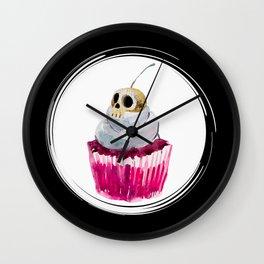Cherry Skull Cupcake Wall Clock