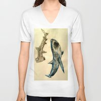 sharks V-neck T-shirts featuring Sharks by Jen Hallbrown