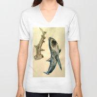 sharks V-neck T-shirts featuring Sharks by Jen Hallbrown