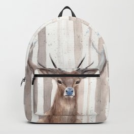 "Watercolor Painting of Picture ""Deer in Winter Forest"" Backpack"