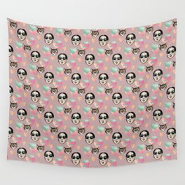 girl and cat pink Wall Tapestry