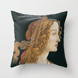 Idealized Portrait of a Lady (Portrait of Simonetta Vespucci as Nymph) Throw Pillow