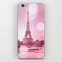 Paris Eiffel Tower Pink Bokeh iPhone Skin