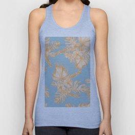 Hawaiian Hibiscus Palm Deep Orange Sky Blue Unisex Tank Top
