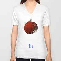 charlie brown V-neck T-shirts featuring That's no pumpkin Charlie Brown! by Robotic Ewe