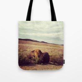 Sunbathing Bison Tote Bag
