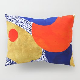 Terrazzo galaxy blue night yellow gold orange Pillow Sham
