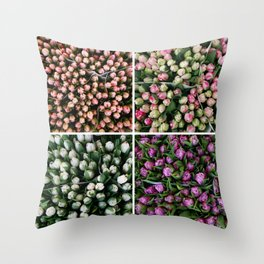 Tulips from Holland - pink and purple Throw Pillow