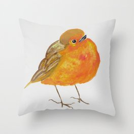 Tangerine Bird Throw Pillow