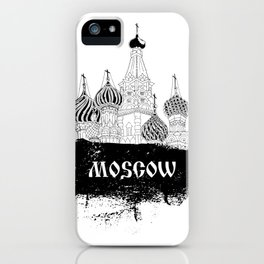 Russian black design with Moscow Kremlin iPhone Case