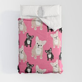 French Bulldog Puppies Pink Comforters
