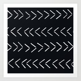 black mudcloth arrows chevron Art Print