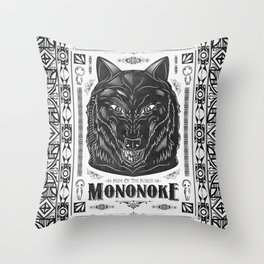 Mononoke Hime Wolf Pride Letterpress Line Work Throw Pillow