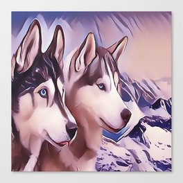 A Pair of Siberian Huskys Canvas Print