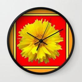 DECORATIVE RED COREOPSIS MODERN ART Wall Clock
