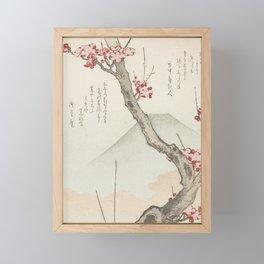 Mount Fuji and a Flowering Plum Tree Framed Mini Art Print