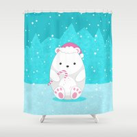 polar bear Shower Curtains featuring Polar bear by eDrawings38