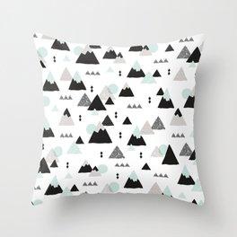 Geometric Fuji mountain japan travel pattern Throw Pillow