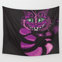 cheshire cat Wall Tapestries featuring Cheshire Cat by KaytiDesigns