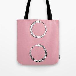 Ouroboros Floral Double Snake Design Tote Bag
