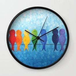 Rainbow Birds on a Wire Wall Clock