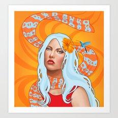 Hummingbird Girl with Orange Swirls Art Print
