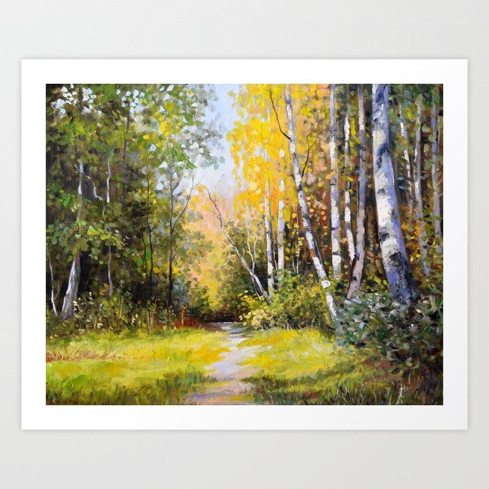Birch Grove # 3 Art Print