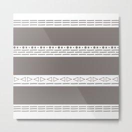 Bohemian grey&white monochromatic neutral pattern Metal Print