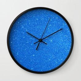 Blue Zircon December Capricorn Birthstone Shimmery Glitter Wall Clock