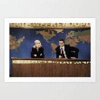 amy poehler Art Prints featuring seth & amy by Bad Movies