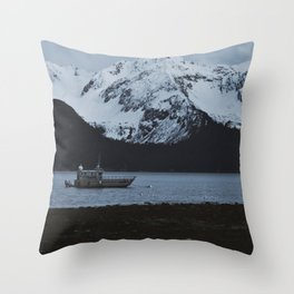 Boat In Seward Throw Pillow
