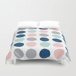 Zanthe - abstract trendy dots polka dots painted dot pattern blue pink pastel pantone color of the  Duvet Cover