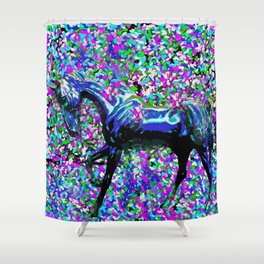 Horse Beneath the Petals Shower Curtain