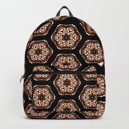 Black, Pink and Gold Beadwork Print Backpack