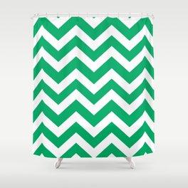 GO green - green color - Zigzag Chevron Pattern Shower Curtain