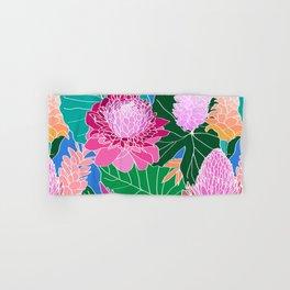 Tropical Botanical Pond in Blue Hand & Bath Towel