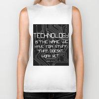technology Biker Tanks featuring Technology by Hollie B