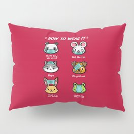 How not to wear a face mask  animals cute funny Pillow Sham