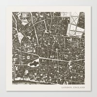 london map Canvas Prints featuring London Map by Zeke Tucker