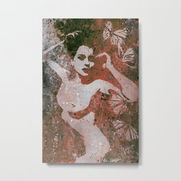 Heavy Crown: Red (nude butterfly pin up, erotic graffiti) Metal Print