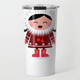 Hand drawn cute Eskimo / RED Travel Mug