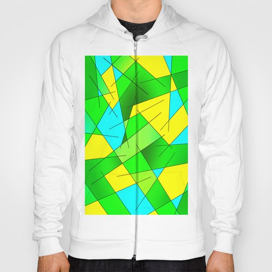 ABSTRACT LINES #1 (Greens, Yellow, Light Blue-Aquamarine) Hoody