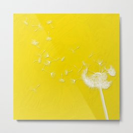 Windblown Dandelion - Yellow Metal Print