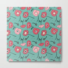 Pinky Posies on Turquoise Metal Print