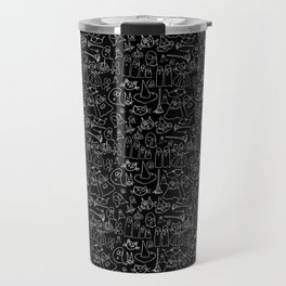 Cats and Ghosts-Black and White Travel Mug